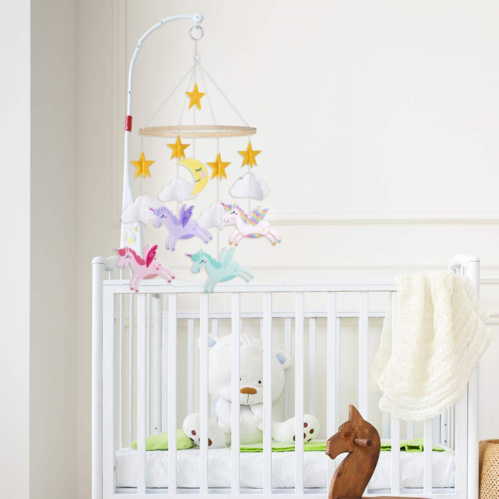 FIOBEE Baby Crib Mobile Unicorn Crib Mobile for Infant Planets Baby Mobile Decoration for Boys and Girls Nursery D/écor for Baby Shower Gift with Stars Cloud and Moon