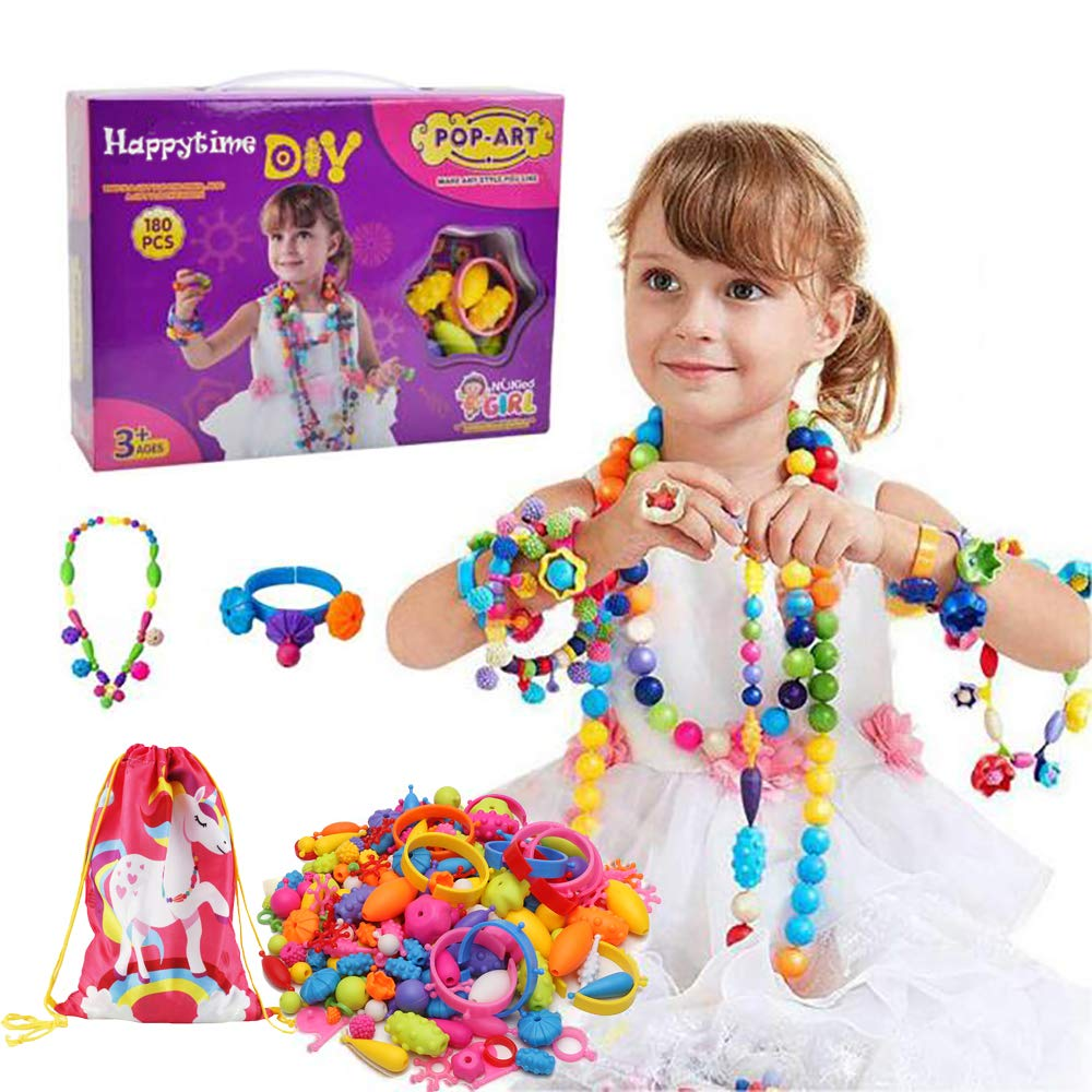 Happytime Snap Pop Beads Girls Toy 180 Pieces DIY Jewelry Marking Kit Fashion Fun for Necklace Ring Bracelet Art Kids Crafts Birthday Fun Gifts Toys for 3, 4, 5, 6, 7 ,8 Year Old Kids Girls