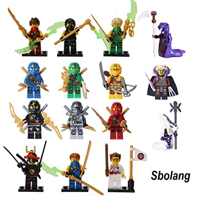 Sbolang Ninja Minifigures Set of 15,Ninjago Minifigures Building Blocks Toys: Toys & Games
