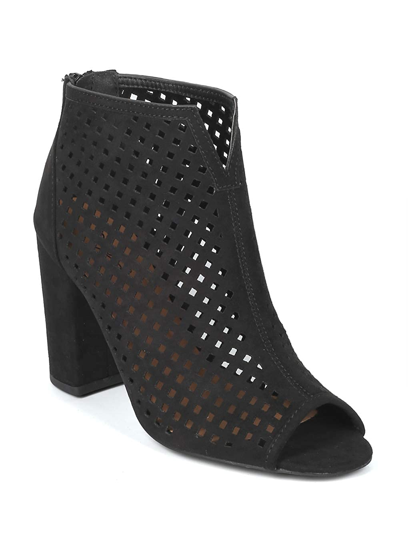Black Faux Suede Alrisco Women Faux Suede Open Toe Perforation Chunky Heel Sandal Bootie - IB17