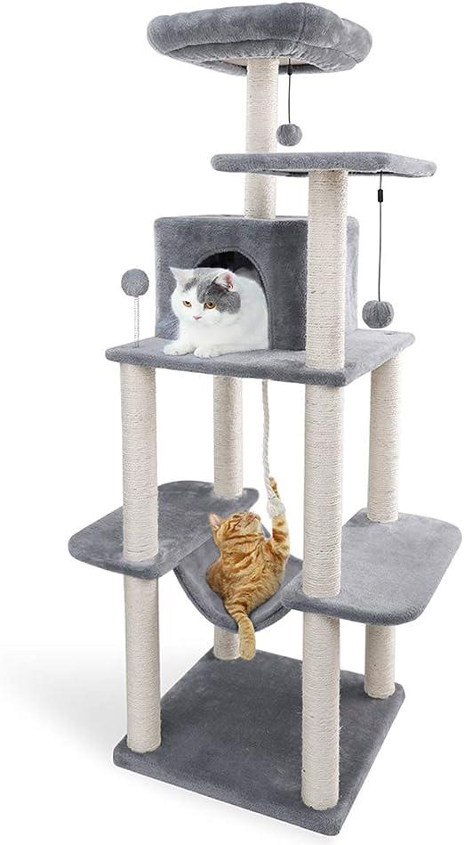 Eono by Amazon Árbol para Gatos Rascador con nidos Sisal Cubierto Rascador Hamaca Plataformas Bolas de Juego Gris: Amazon.es: Productos para mascotas