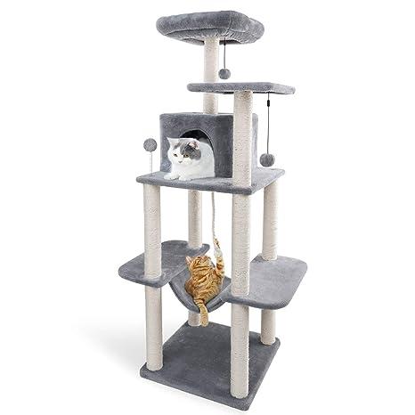 Eono by Amazon - Árbol para Gatos Rascador con nidos Sisal Cubierto Rascador Hamaca Plataformas Bolas de Juego Gris