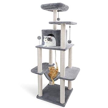 Eono Essentials Árbol para Gatos Rascador con nidos Sisal Cubierto Rascador Hamaca Plataformas Bolas de Juego Gris: Amazon.es: Productos para mascotas