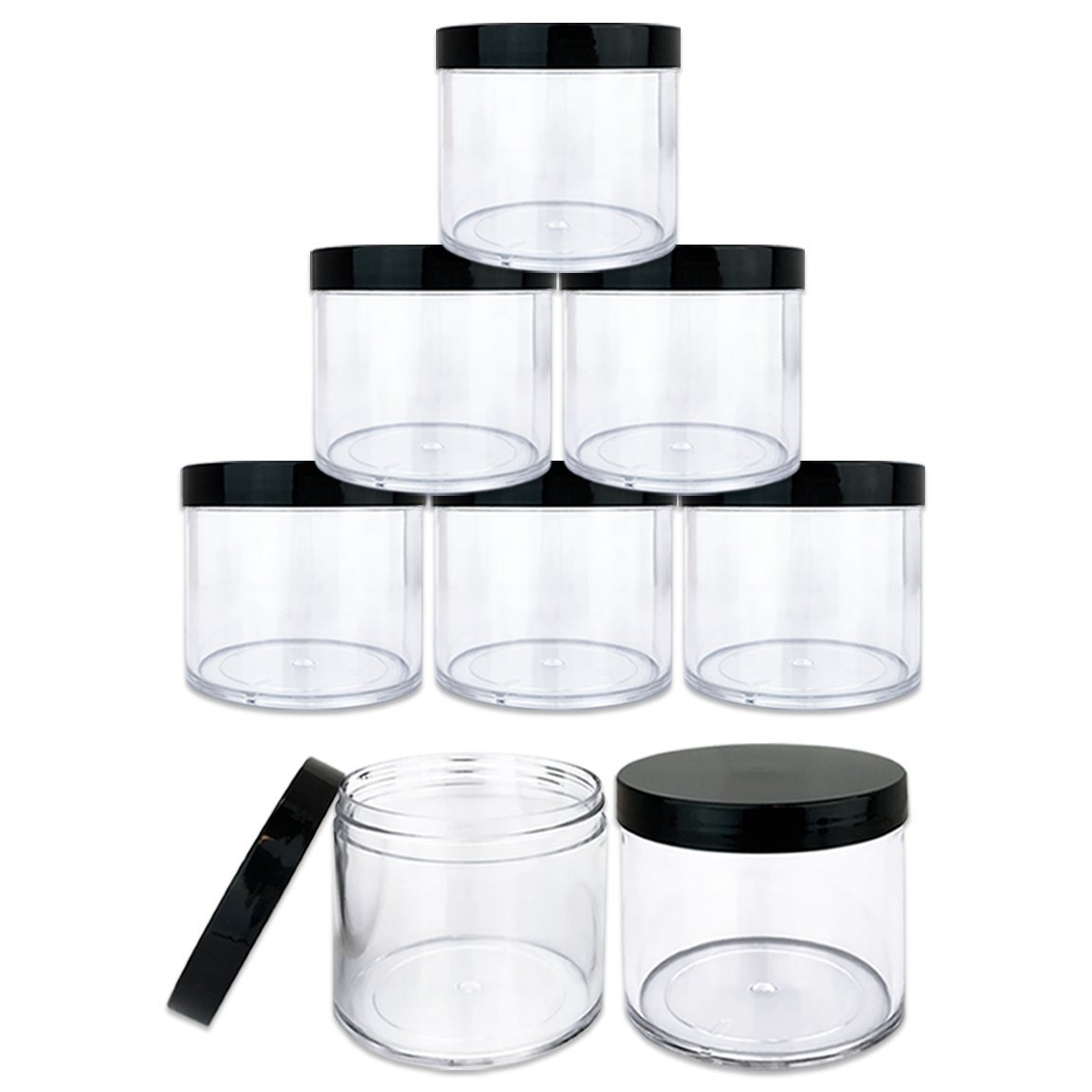 Beauticom 10 oz. (300g /300ML) (Quantity: 6 Packs) Thick Wall Round Leak Proof Clear Acrylic Jars with Black Lids for Beauty, Cream, Cosmetics, Salves, Scrubs