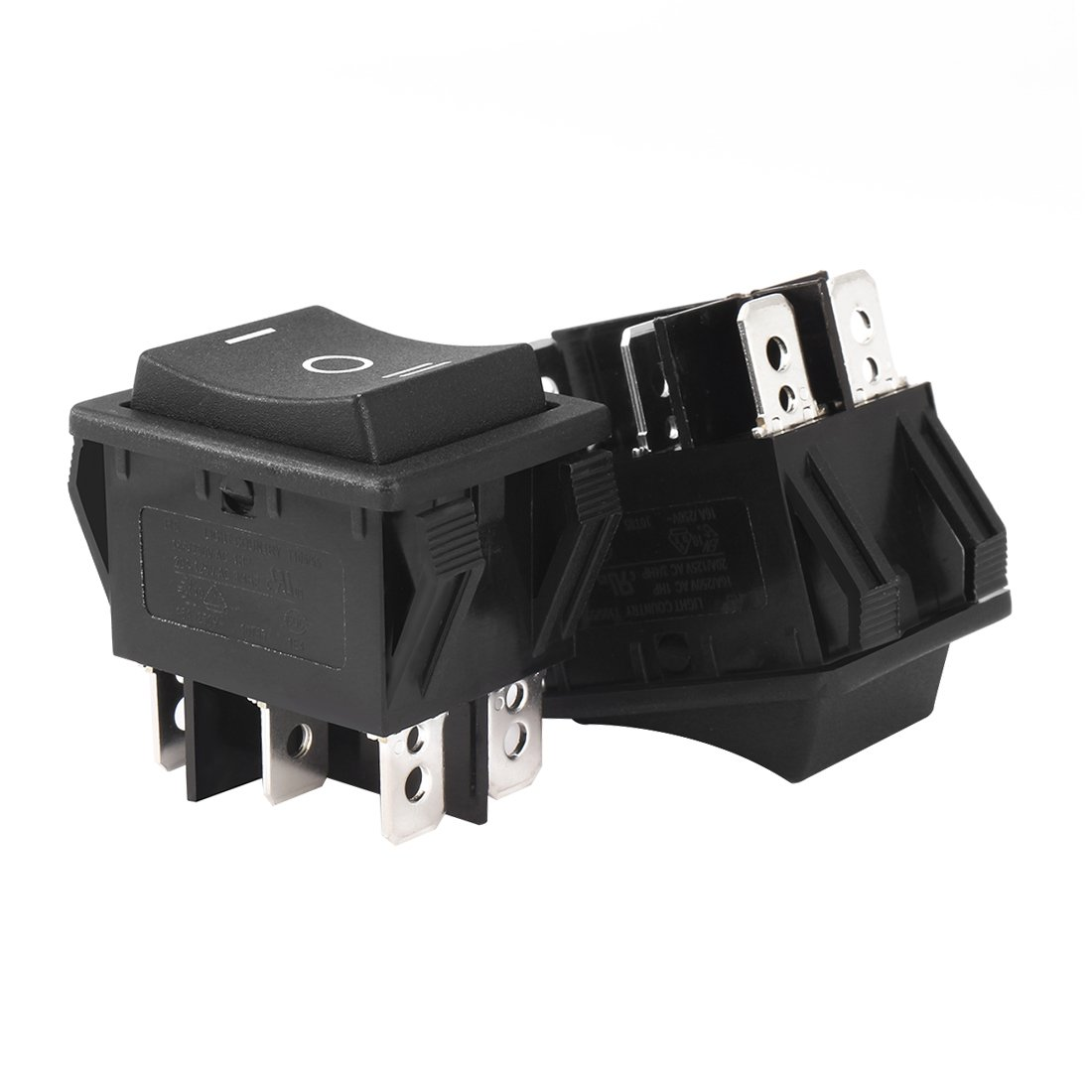 Aexit 5Pcs UL Winch Accessories Listed AC 20A/125V 16A/250V DPDT 6 Terminal 3 Position Boat Rocker Switches Switch Black