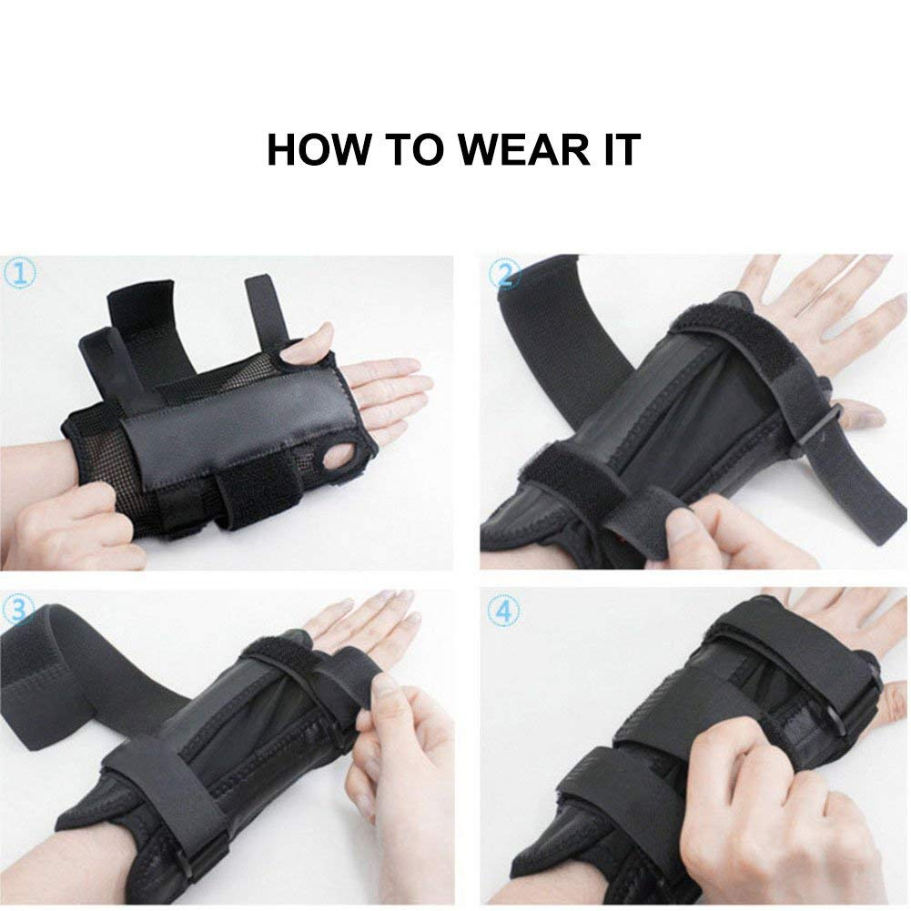 Arthritis and Tendinitis Fit Both Hands Sprains Knugoua Carpal Tunnel Wrist Brace Compression Wrist Sleep Support with Removable Splint and 3 Level Adjustable Support Wrap for Sports