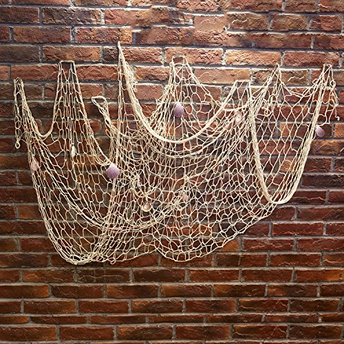 Kakaxi tm natural decorative party fish net with shells for Amazon fishing net