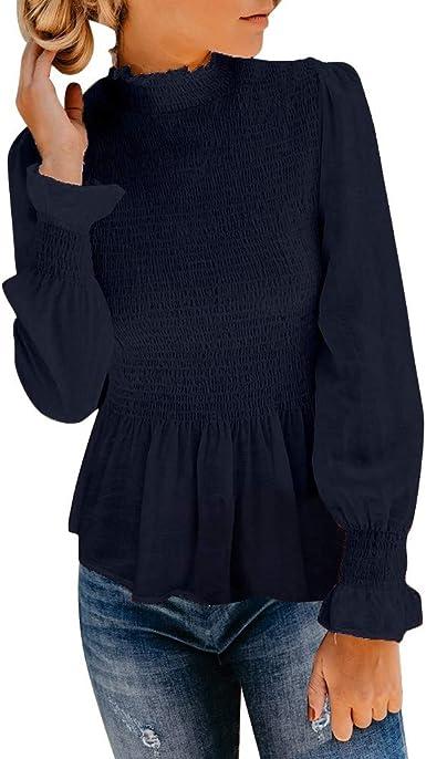 Camisetas Plisado Mujer Blusas Gasa Cuello Alto Elegante Tops ...