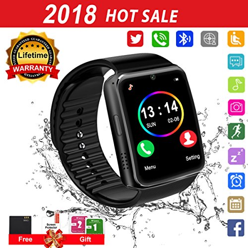 Smart Watch for Android Phones 2018 Bluetooth Smartwatch Android Phone Watch Waterproof Smart Watches Touchscreen with Camera Compatible IOS iphone X 8 7 6 6S plus Android Samsung for Women Man Black by Luckymore