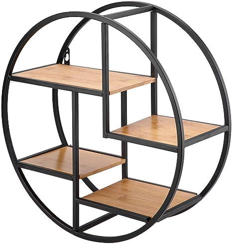 Ausla Estantería Redonda de Pared de Madera y Metal Negro, con 4 estantes, diseño Creativo, Almacenamiento de Cubos.