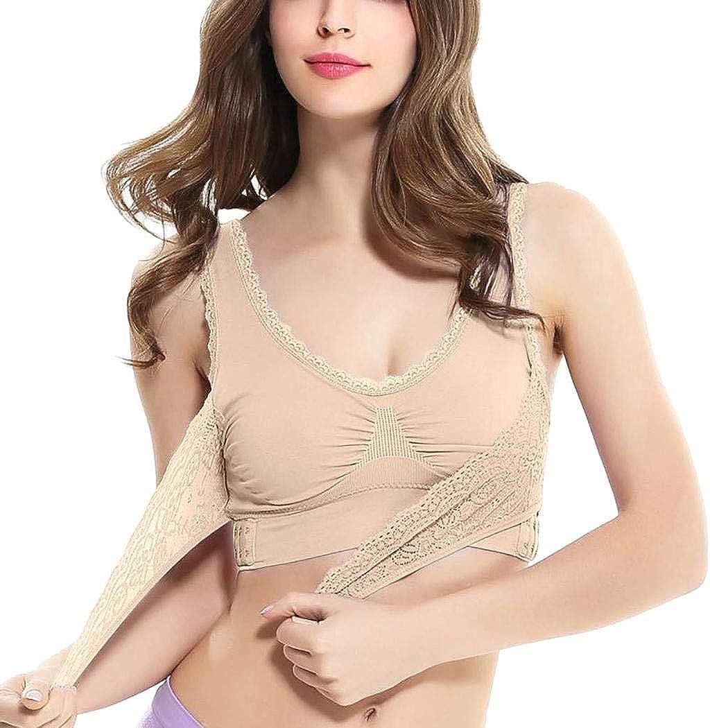 Fanala Women Cross Push-up Sporting Bra Front Side Buckle Lace Full Cup Underwear Sports Bras