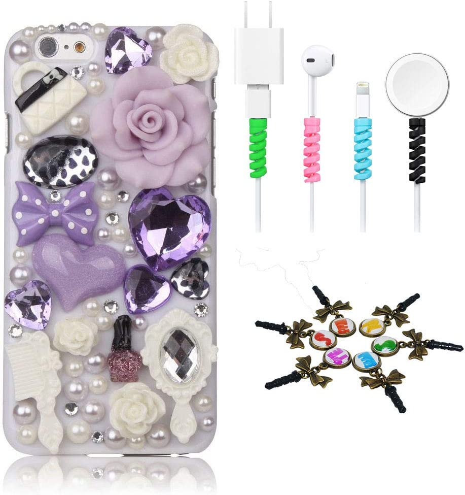 STENES Bling Case Compatible with iPhone 5C - Stylish - 3D Handmade [Sparkle Series] Girls Cosmetic Rose Flowers Design Cover with Cable Protector [4 Pack] - Light Purple