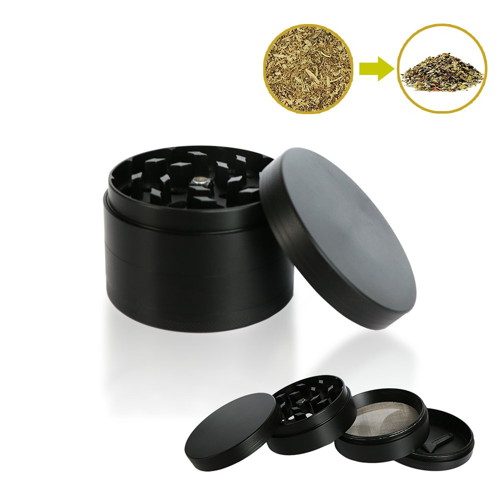 4 Piece Spice Herb Grinder, 2.4'' Tobacco Spice Crusher with Pollen Catcher and Durable Razor-Sharp Teeth, Professional Mills for Kitchen, Restaurant and Tobacco Lovers, Zinc Alloy Material