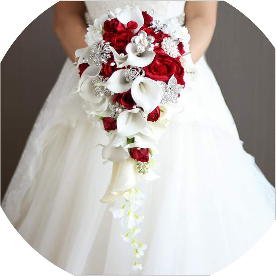 Amazon Com Waterfall Red Wedding Flowers Bridal Bouquets