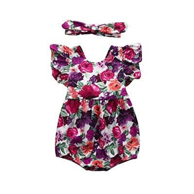 Amanod Newborn Infant Baby Girl Floral Ruffles Romper Jumpsuit Sunsuit Outfits Clothes