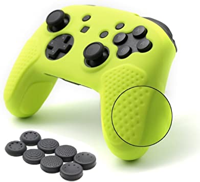 CHIN FAI para Nintendo Switch Pro Funda para el Mando, Funda Protectora de Silicona Antideslizante con 8 pzs. de empuñadura para los Pulgares (Amarillo limón): Amazon.es: Electrónica