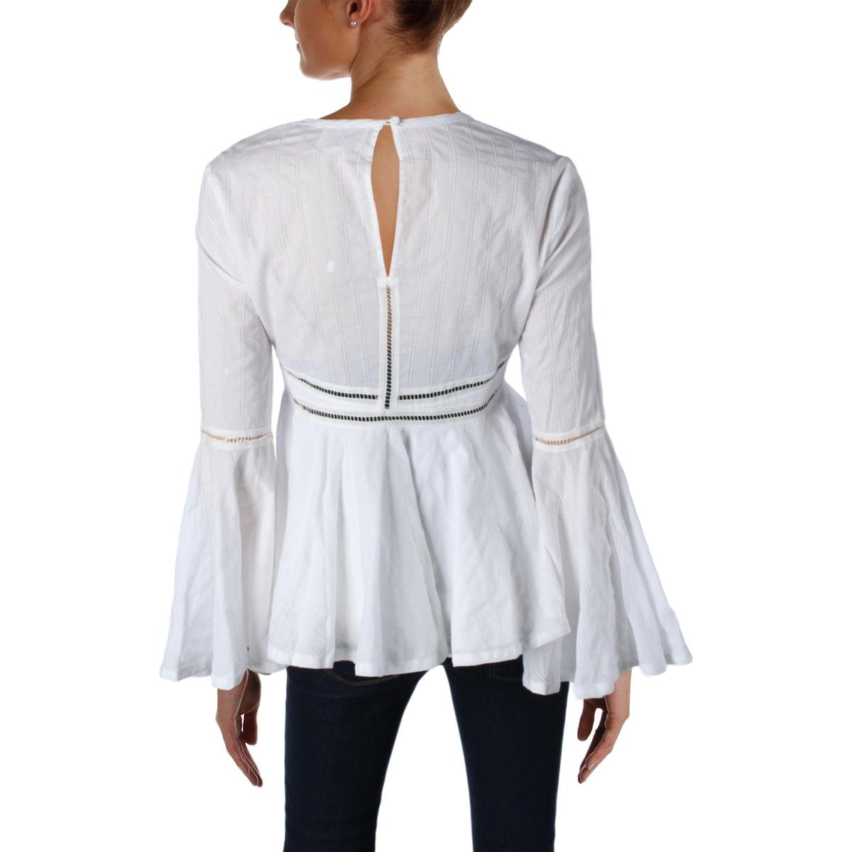 Cinq a Sept Womens Marseille Poplin Bell Sleeves Peplum Top White XS by Cinq a Sept (Image #2)