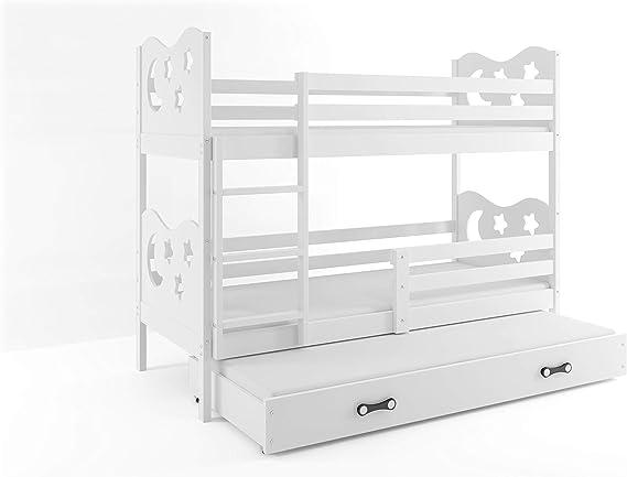 Cama triple para niños Miko, litera con tercer cama extraíble, habitación para niños, colchón de esponja.: Amazon.es: Hogar