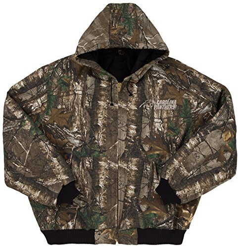 NFL Carolina Panthers The Camo Canvas Quilt Lined Hooded Jacket, Real Tree Camouflage, 2X