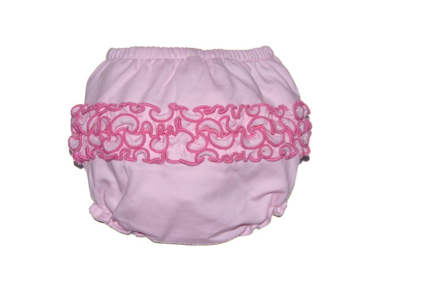 12-18M Pink Ruffle Bloomers with Hot Pink Stitching By Cute As Buttons