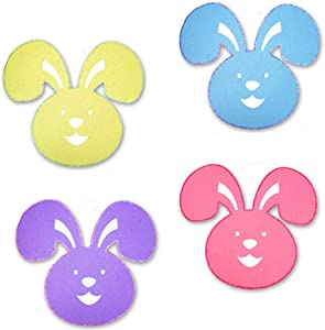 Easter Bunny Jumbo Holiday Placemat Felt Shapes - Glitter Cut-Outs for Arts and Crafts or Party Supply Decorations - 4 Piece Set