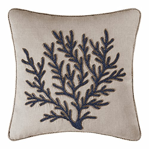 Indigo Sound Square Coral Beaded Embroidered Pillow by C & F