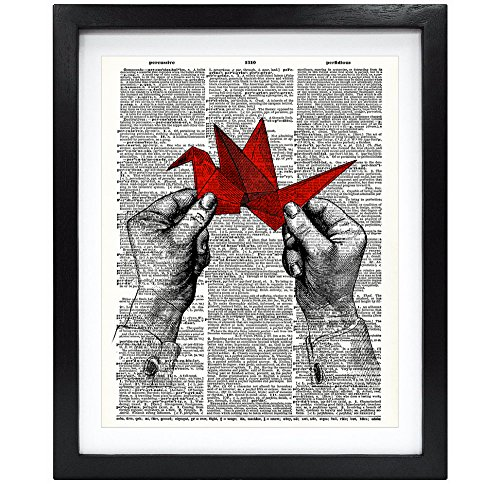8X10 Unframed Hands With One Thousand Origami Cranes Upcycled Vintage Dictionary Art Print Book Art Print Funny Art Print Christmas Gift V066