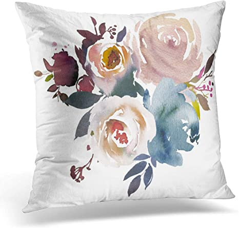 Amazon Com Emvency Throw Pillow Covers Case Navy Peach Light Blue Pale Pink Gray White Watercolor Floral Bouquet Anemone Decorative Pillowcase Cushion Cover For Sofa Bedroom Car 18 X 18 Inches Home