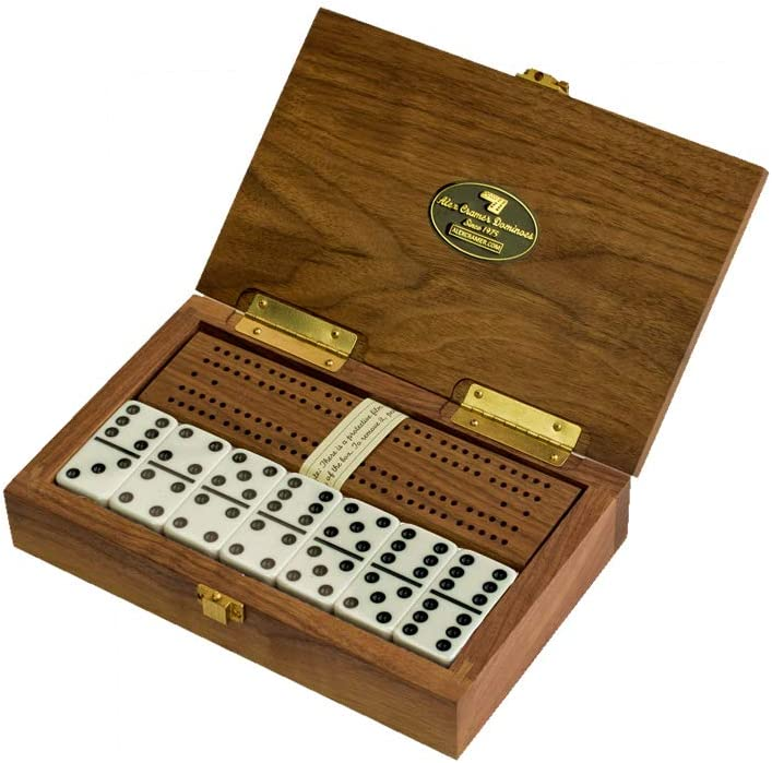 "Alex Cramer ""Cabin Club Classic Domino Set with Black Walnut Case - Premium Quality 28 Indestructible Double-Six Dominoes (Domino Set)"