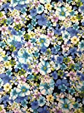 Blue Assorted Flowers Pattern on Stretch Bulgari Knit Jersey Polyester Spandex Fabric By the Yard