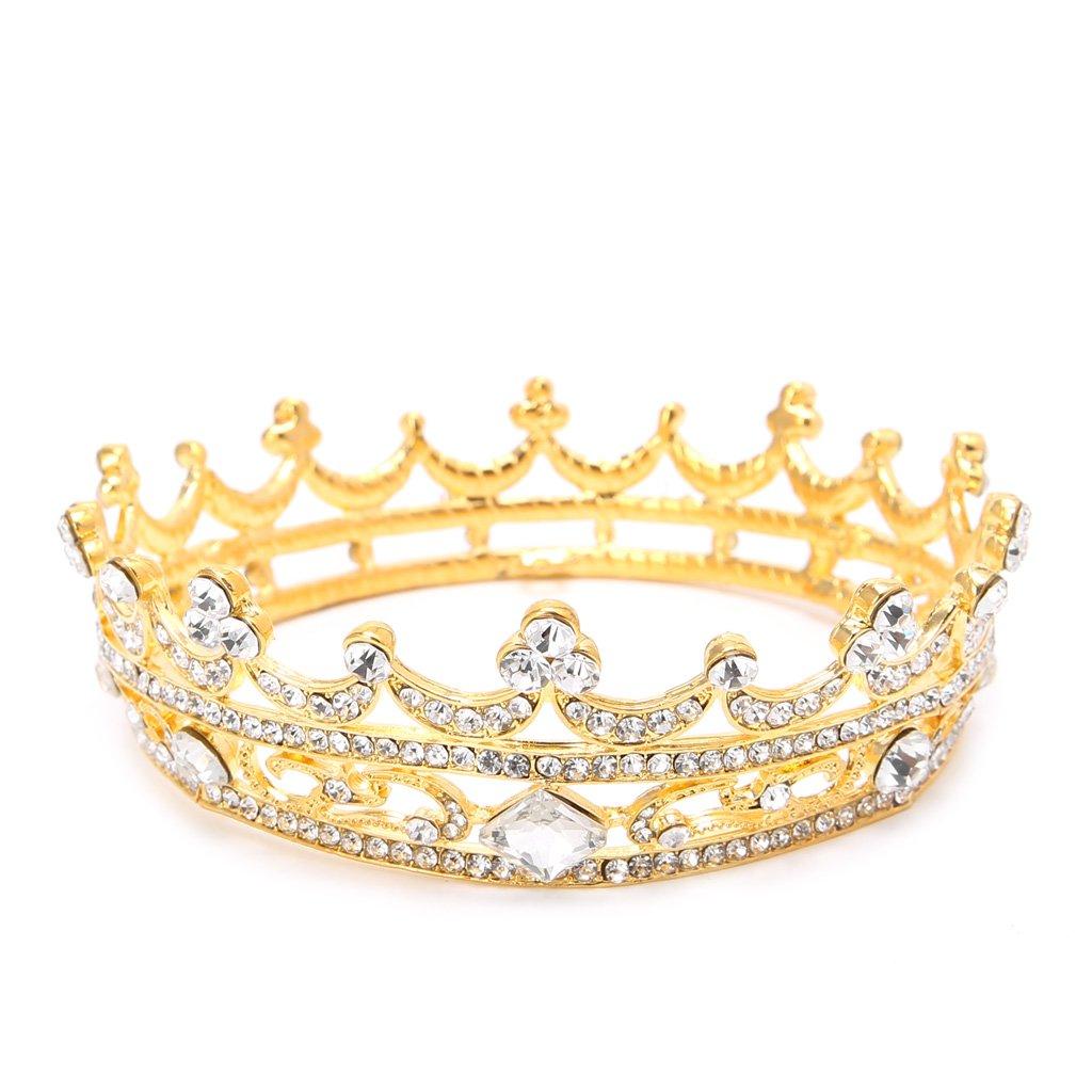 Lamdoo Pageant Full Round Tiara Bridal Crown Wedding Rhinestone Headpiece Hair Jewelry Gold