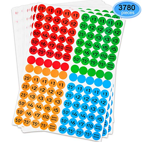- Preprinted Pricing Labels, EAONE 3780Pcs Garage Sales Removable Colored Price Stickers (27 Sheets, 4 Colors)