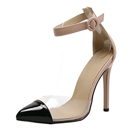 84fd9c8ec76 Transparent High Heels Womens Pointy Toe Clear Ankle Strap Sandals Sexy  Shoes (Black+Nude