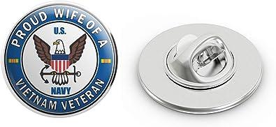 US Navy Veteran Proud Wife Military Veteran USA Pride Served Gift Metal 0.75 Lapel Hat Pin Tie Tack Pinback