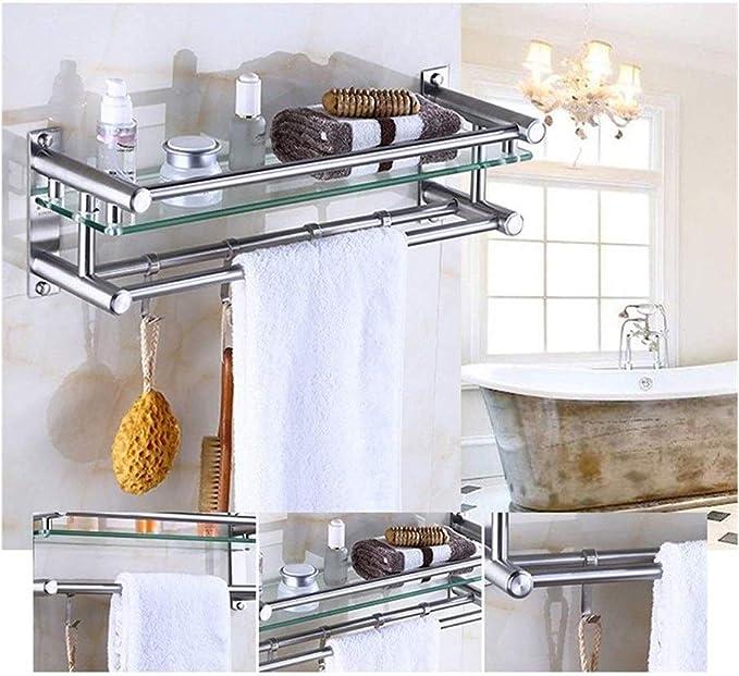 ZhanMa Toallero Cuarto de baño Estante de Vidrio con 304 Acero Inoxidable toallero, montado en la Pared de la Cocina Garaje Baño Decoración Duradero (Color : 1 Tier, Size : 40cm): Amazon.es: Hogar