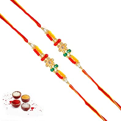 474ed795bb Buy Arvind Gold Pendant Work Designer Rakhi Set of 2 (Ps3622) Online at Low  Prices in India