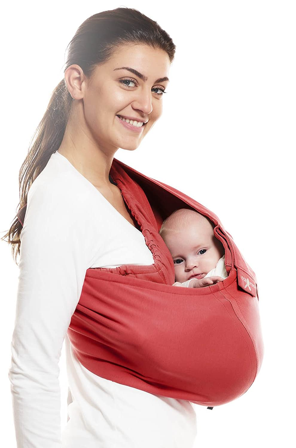 Wallaboo Baby Sling Connection, Easy Adjustable Baby Sling, One Size Fits All, Newborn and up, Adapts Perfectly to the Shape and Size of your Baby, Red - Taupe Wallaboo bv WSC.0310.1819