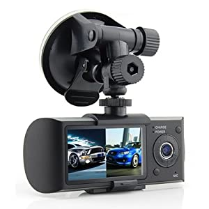 2018 New R300 Dual Lens Dashboard Camera - Records Front and in-Car w/Night Vision Assist