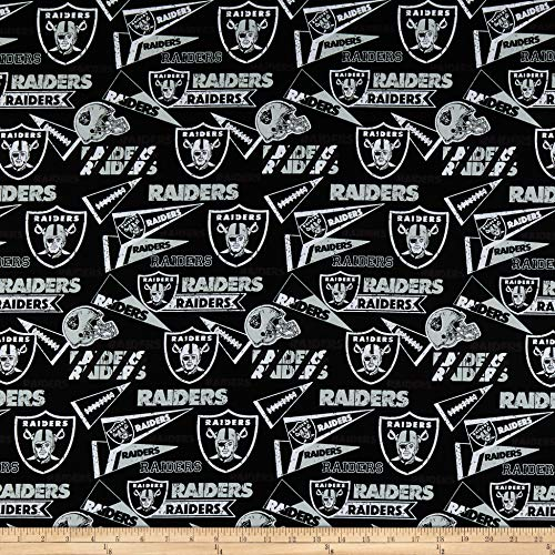 Cotton Oakland Raiders Fabric - Traditions NFL Cotton Broadcloth Oakland Raiders Retro Black, Fabric by the Yard