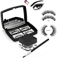 Magnetic Eyeliner with Magnetic Eyelashes, lesgos [2019 Newest] 3D Waterproof Sweat-proof Magnetic Liquid Eyeliner with Brush and Mirror for Use with Magnetic False Lashes