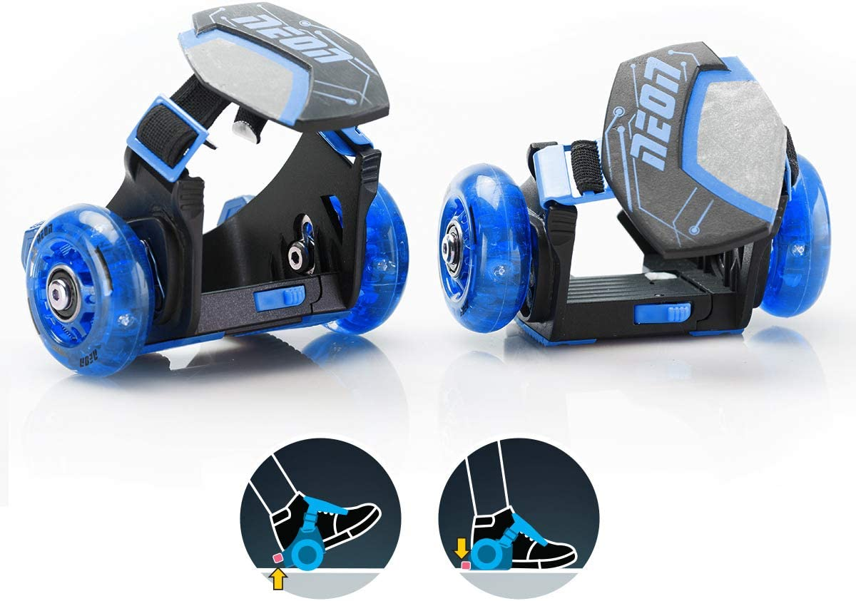 Yvolution Neon Street Rollers Pop N Lock Flashing Heel Wheels Clip on Skates for Kids Over 6 Year Old