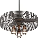 32″ Vintage Breeze 3-Light Bendlin Cage Ceiling Fan For Sale