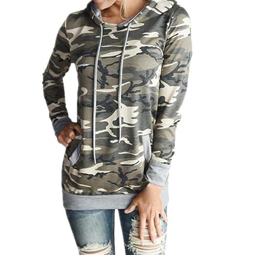 76472e9ef80016 Baomabao Womens Printing Pocket Hoodie Sweatshirt Pullover Tops Camouflage  Blouse (Medium)