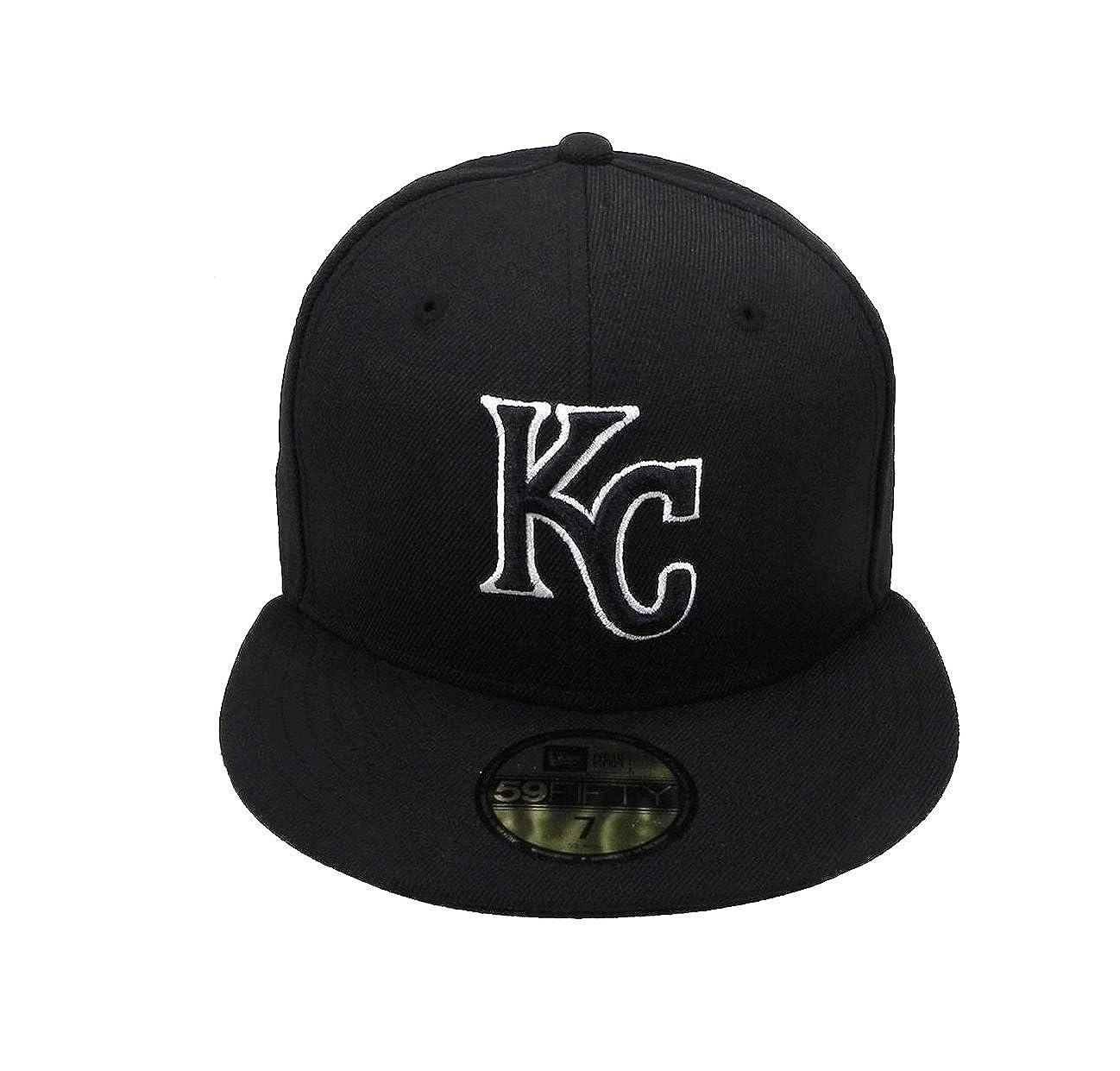 de847d3b New Era 59Fifty Hat MLB Kansas City Royals Black/White Fitted Headwear Cap