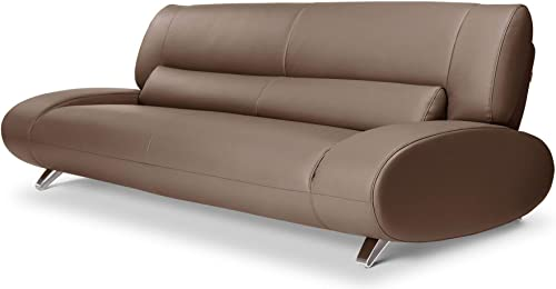Zuri Furniture Modern Aspen Brown Microfiber Leather Sofa