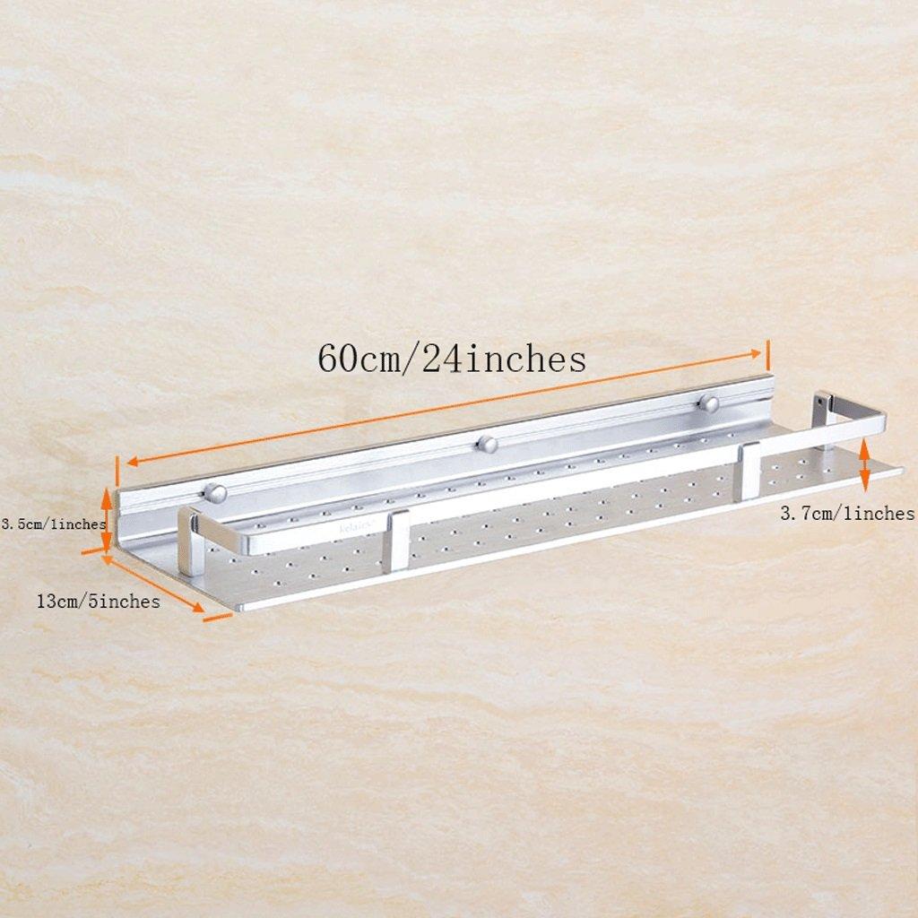YXN Space Aluminum Bathroom Frame Bathroom Square Metal Pendant Bathroom Single Floor Bathroom Storage Rack (Size : 60cm)
