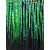 DUOBAO Mermaid-Sequin Backdrop-Green&Black-4FTX6FT, Reversible Sequin Photo Booth Backdrop,Unique/Sparkly Party Fabric Wedding Backdrops (Green&Black #24)