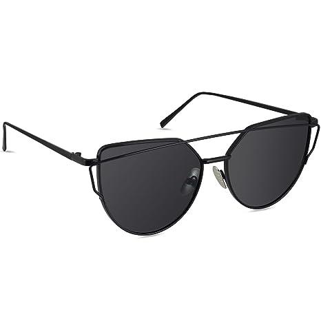 LIVHÒ Occhiali da Sole Donna a Specchio Modello Occhi di Gatto/Struttura in Metallo Protezione UV400 (Oro e Argento) qlJjFAiR