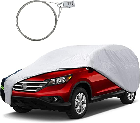 KAKIT SUV Car Cover for Automobiles All Weather Waterproof for Outdoor Sunproof Windproof Dustproof with Door Zipper