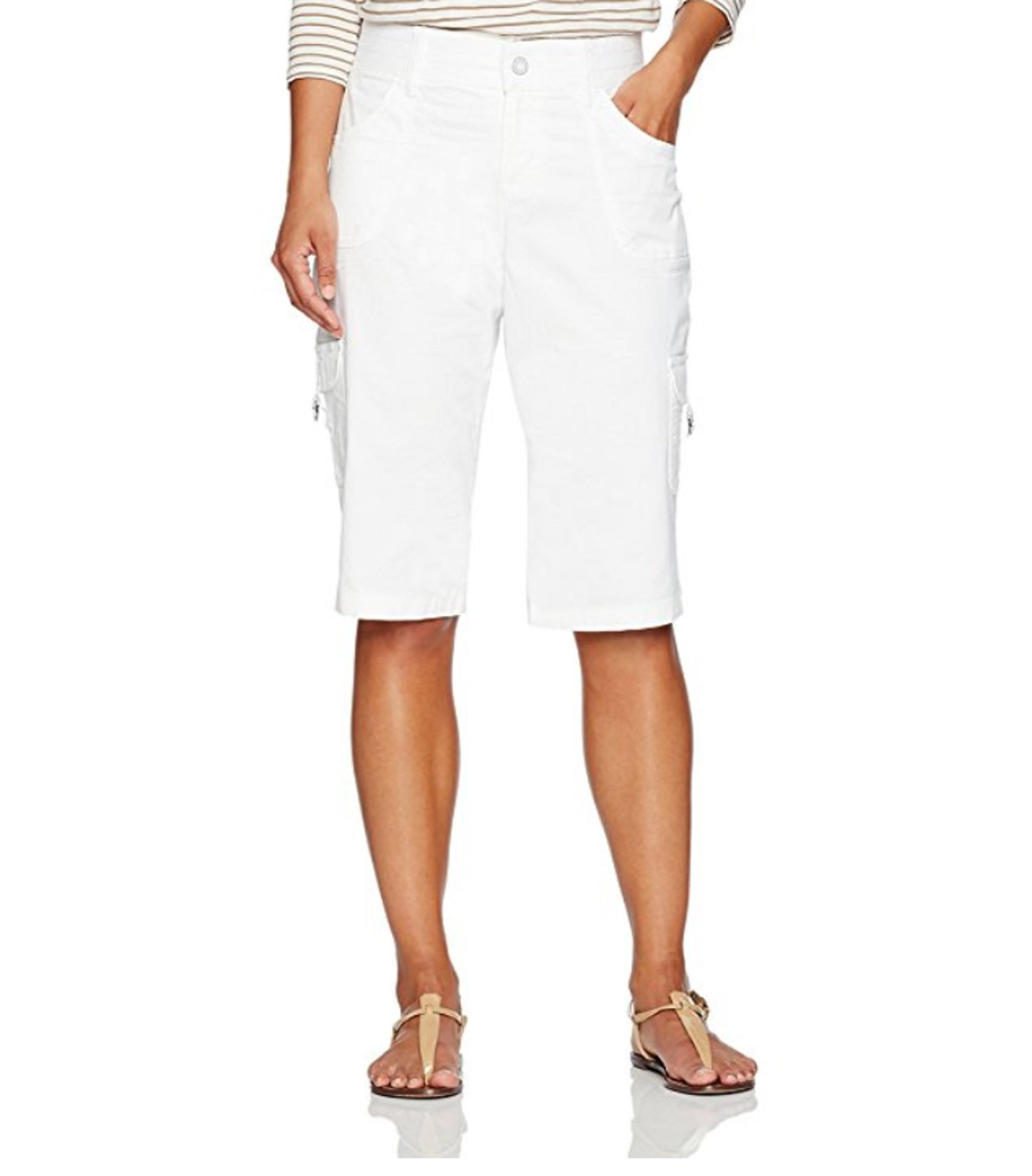 Platinum Label by Lee Petite Relaxed FIT Flexible Comfort Waist Cargo Skimmer Pants (White, 10P)